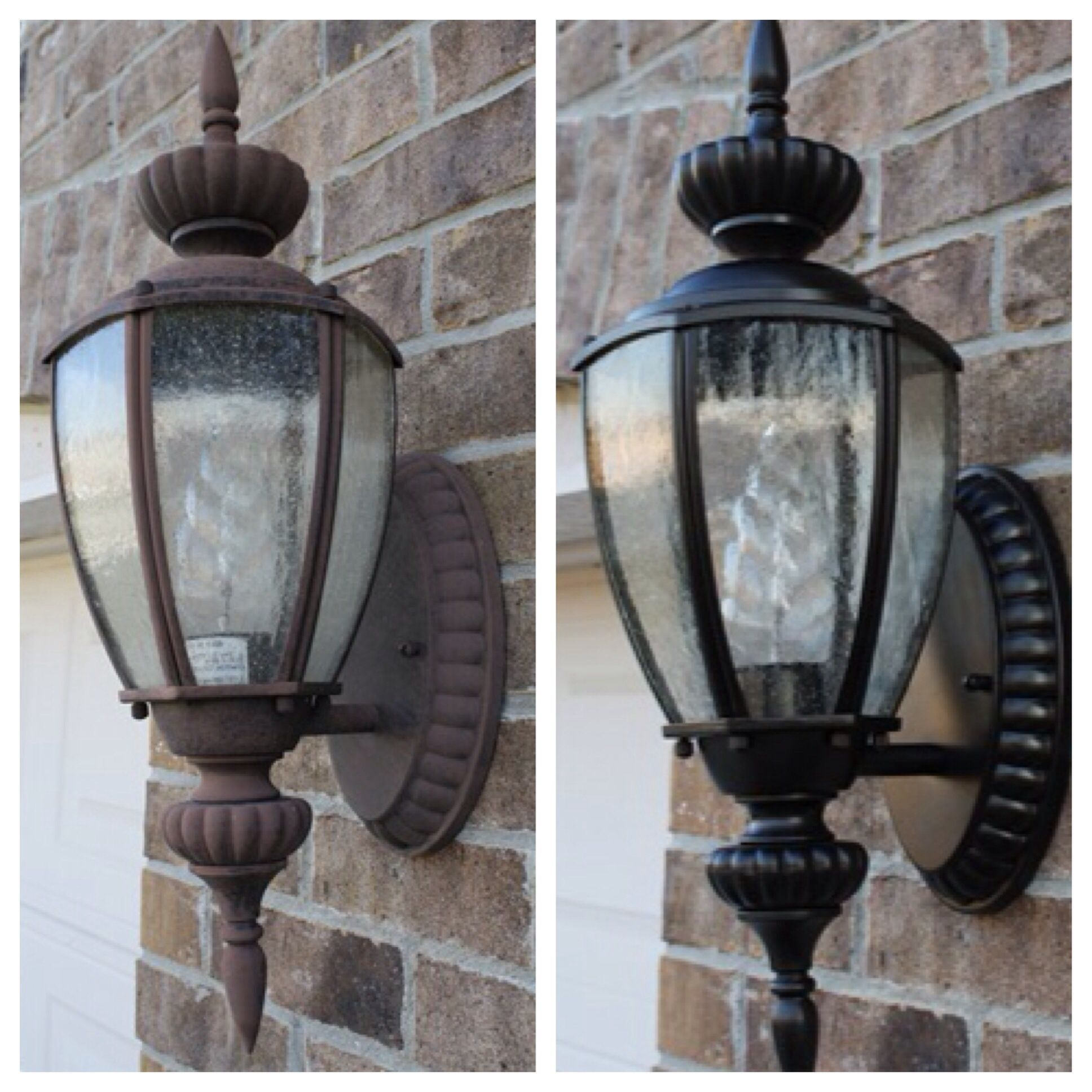 Although these arent my light fixtures i repainted mine and they spray painting outdoor lights it works arubaitofo Choice Image