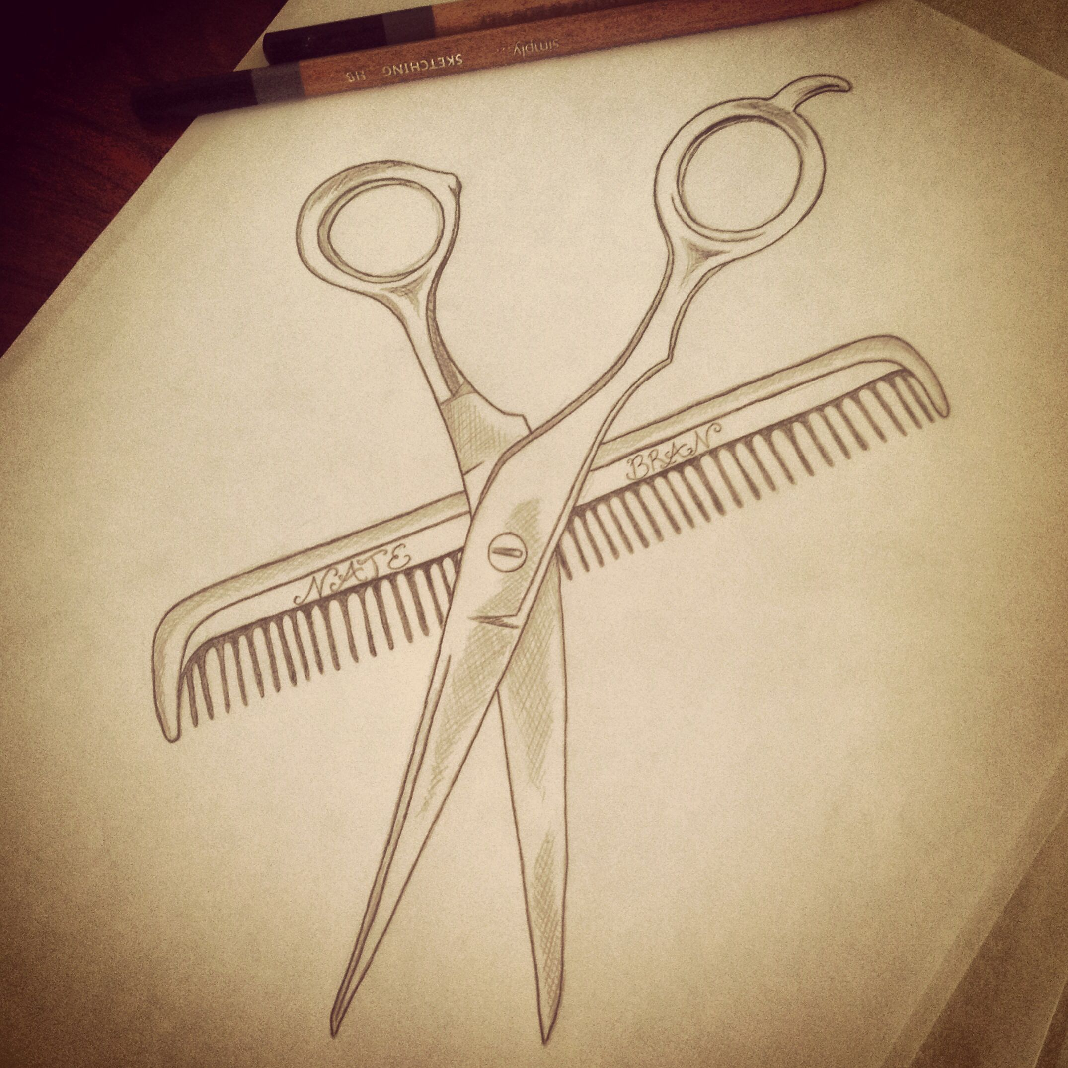 Hairstylist Shears Comb Couples Scissors Scissors Drawing Hairdresser Tattoos Cute Paintings