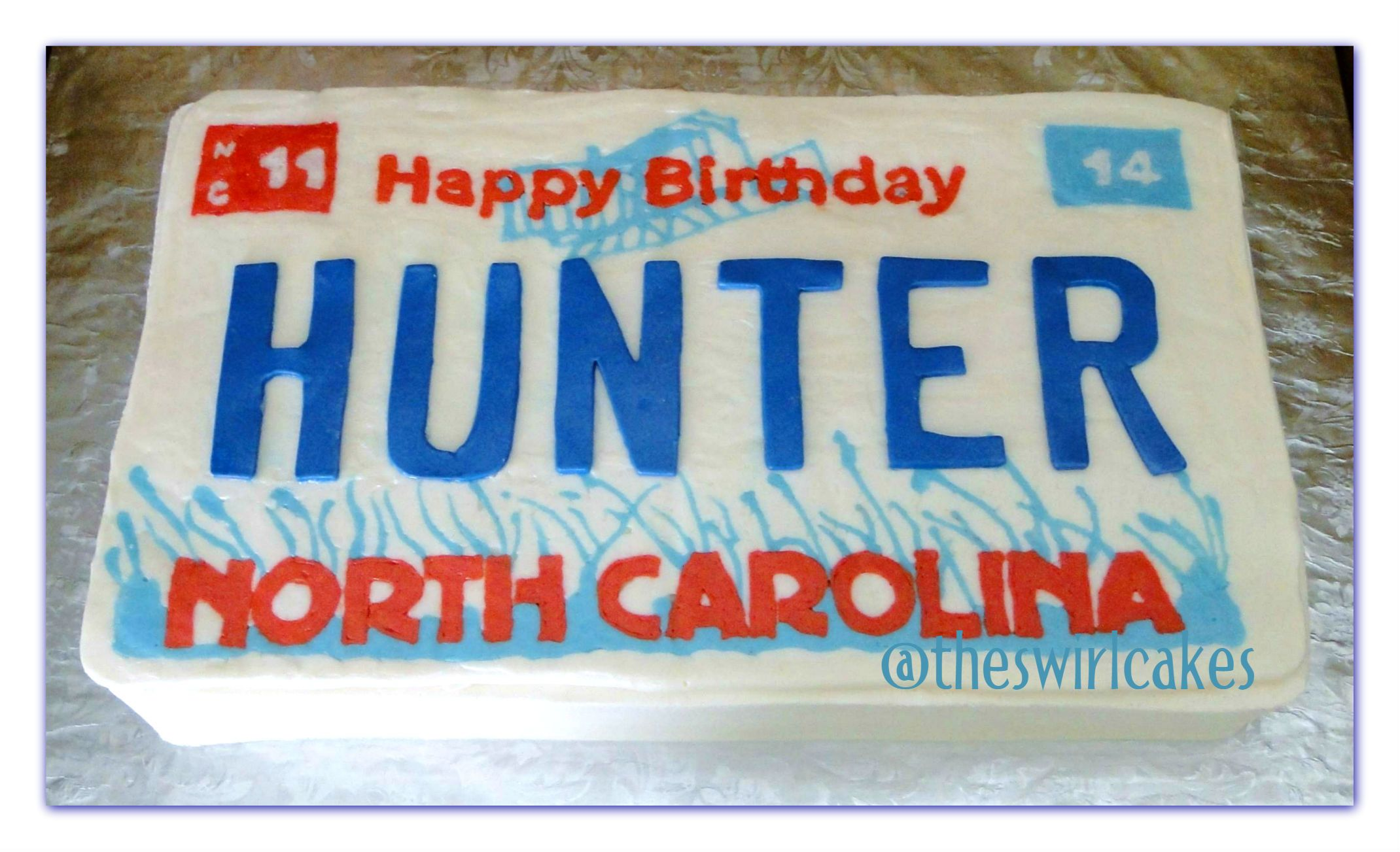 Nc North Carolina License Plate Cake Buttercream With Fondant Large Letter 16 Sixteenth Birthday