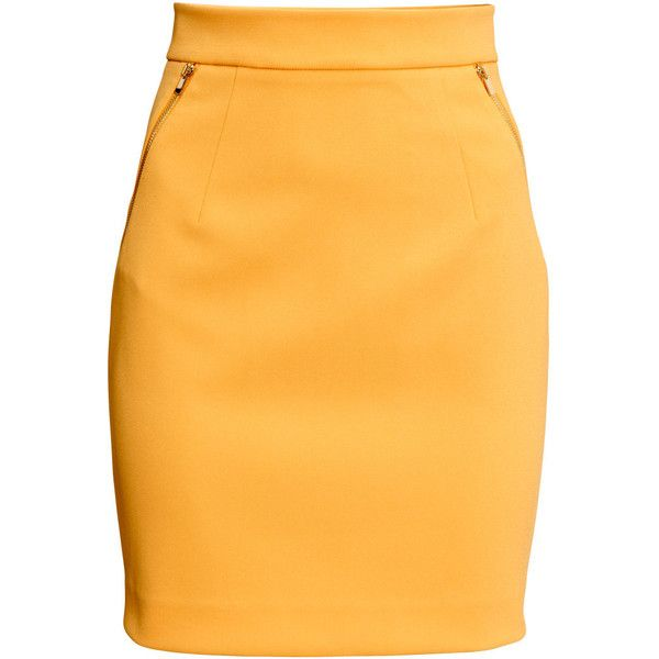 H&M Pencil skirt (4.140 KWD) ❤ liked on Polyvore featuring skirts, bottoms, yellow, knee high skirts, pencil skirt, zipper pencil skirt, yellow pencil skirt and yellow knee length skirt