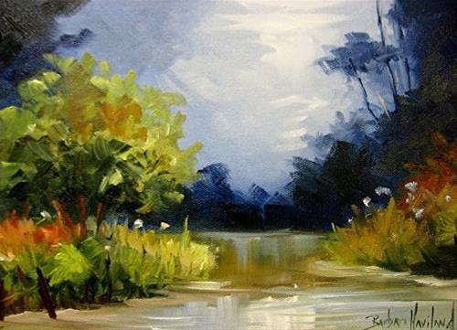 """Daily Paintworks - """"Creek at Dusk Challenge"""" - Original Fine Art for Sale - © Barbara Haviland"""