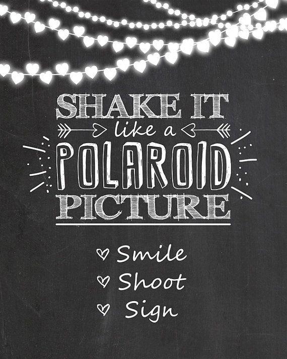 Polaroid sign Photo booth wedding sign Shake door