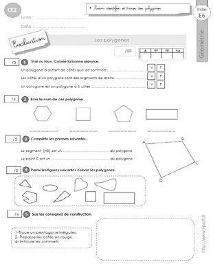 Ce2 Evaluation Les Polygones Ecole Evaluation Geometrie Ce2