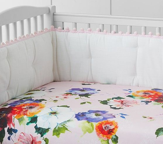 Organic Hannah Floral Fitted Crib Sheet Nursey Pottery
