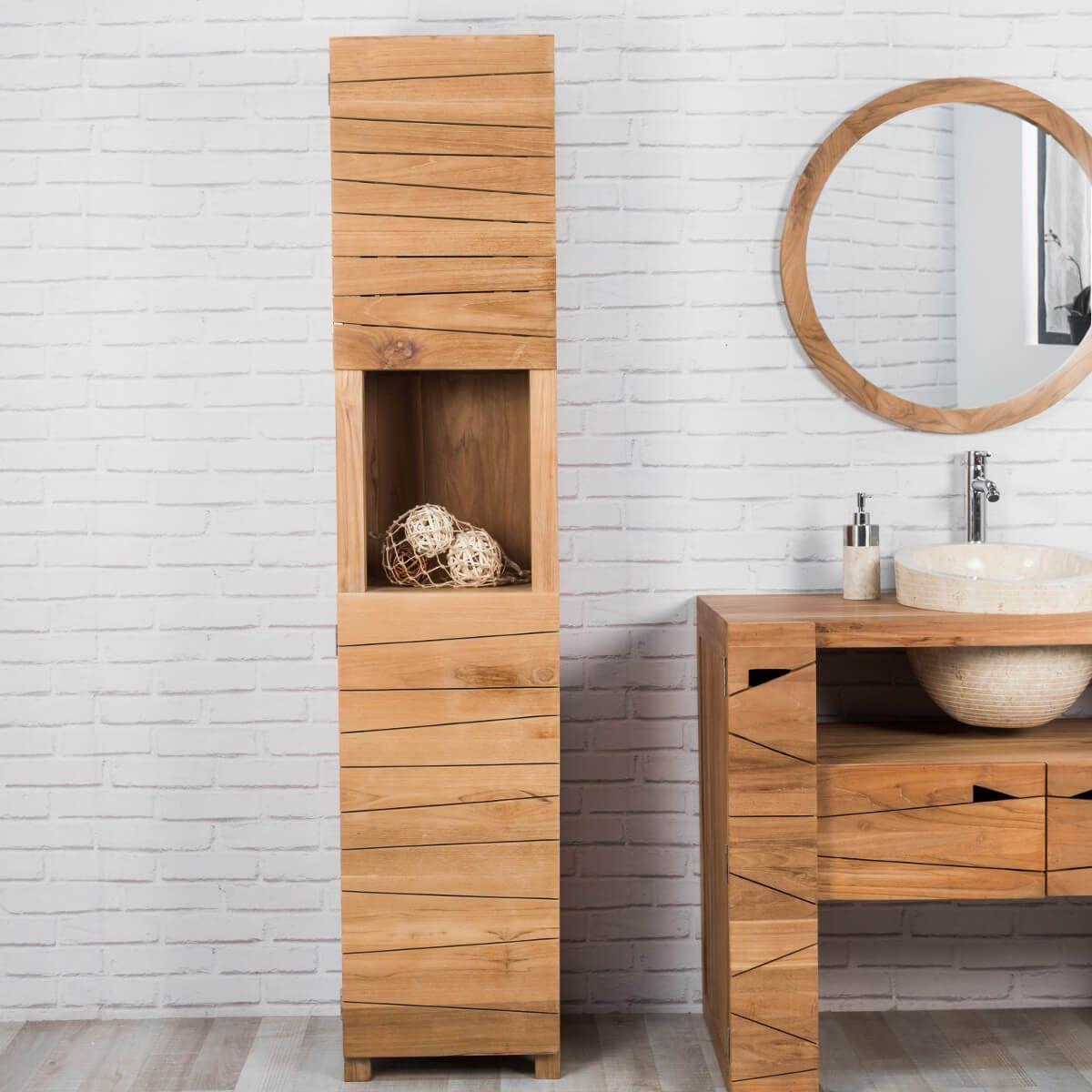 colonne salle de bain en teck massif harmonie 190cm salle de bain en teck grandes portes et. Black Bedroom Furniture Sets. Home Design Ideas