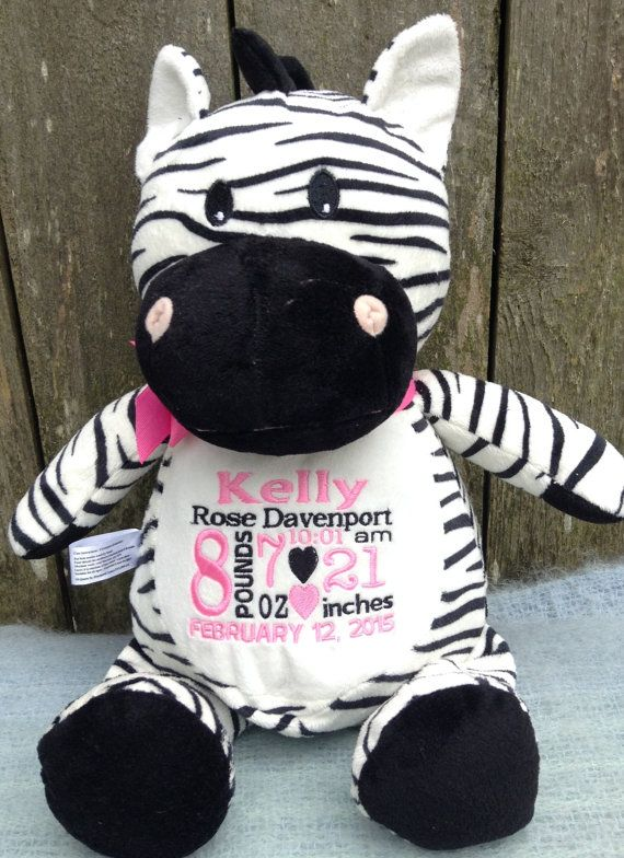 Personalized Baby Gift New Baby Birth Announcement Embroidered by WorldClassEmbroidery Zebra Black and White Baby Gift Baby Girl