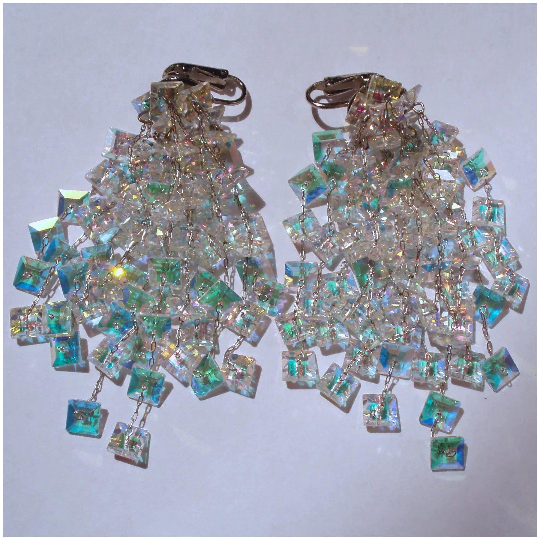 Vintage Rainbow Crystal Chandelier Showstopper Earrings in