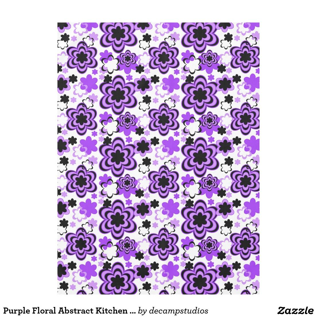 Purple Floral Abstract Kitchen Dining Party Tablecloth