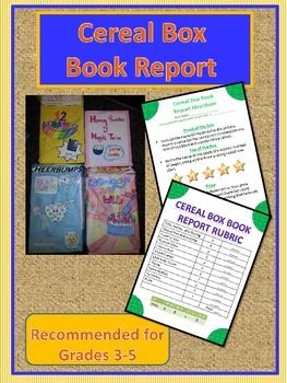 Book report cereal box book report book report projects for Cereal box project for school