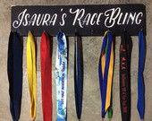 Customized Race Bling Distressed Chalk Paint Running Medal Sign / Hanger for 5k 10k 15k Half-Marathon or Marathon Runners