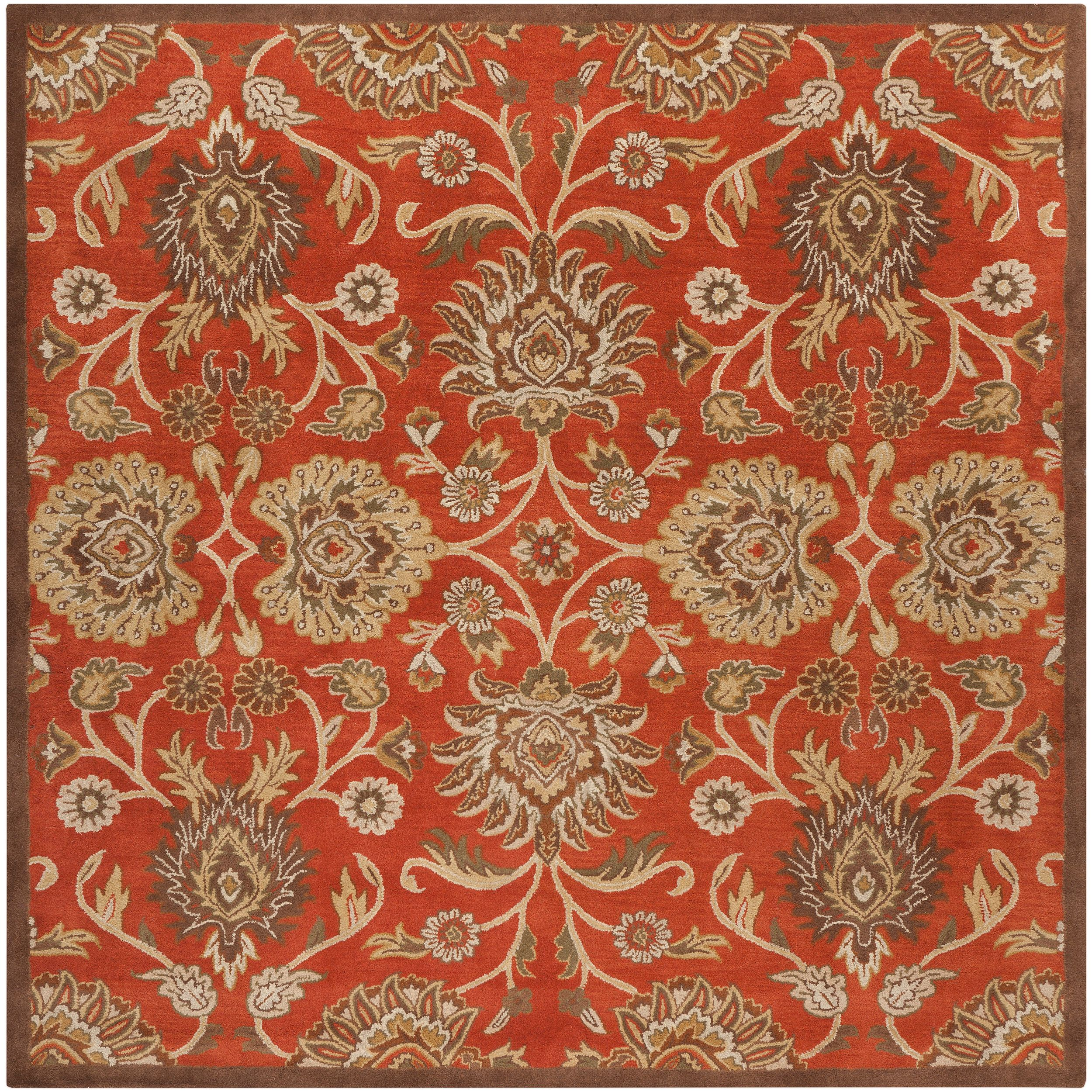 Hand Tufted Rouchel Red Wool Area Rug 8 Square Red Wool Area Rug Square Area Rugs Traditional Area Rugs