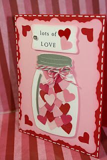 Here is a cute card idea for v day don't rhetorical to fill the jar with all your love for the person #valentinesdaybulletinboardideas