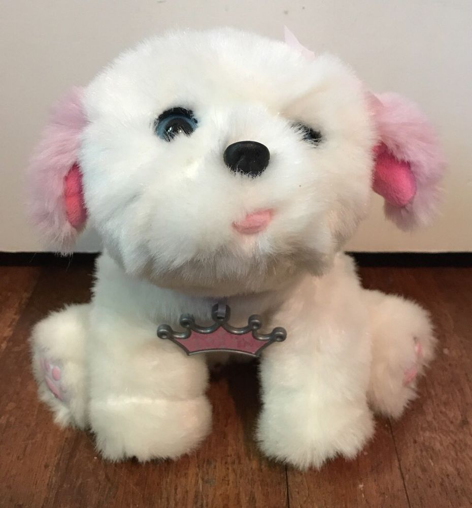 Little Live Pets Tiara My Dream Puppy White Pink Snuggles Ebay Little Live Pets Plush Dog Snuggles