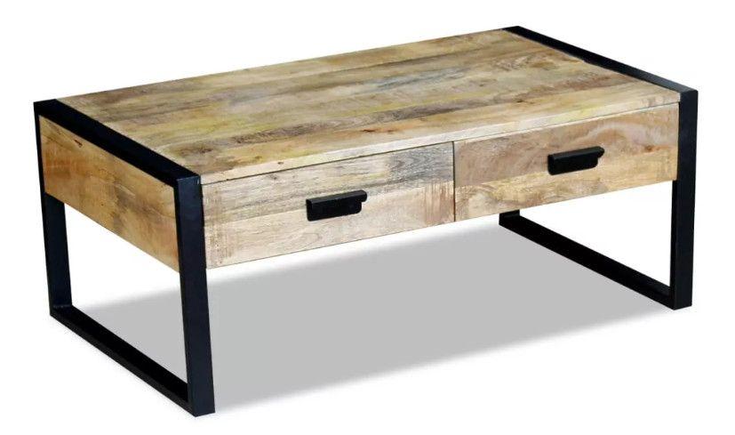 Table Basse 2 Tiroirs Manguier Massif Clair Vieilli Et Metal Noir Grey En 2020 Avec Images Table Basse Salon Table Basse Table Basse Industrielle