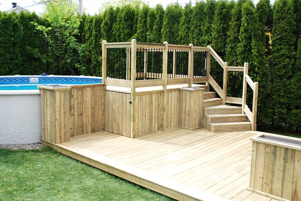 Put pump under the deck and have door to open on bottom - Above ground swimming pools with deck ...