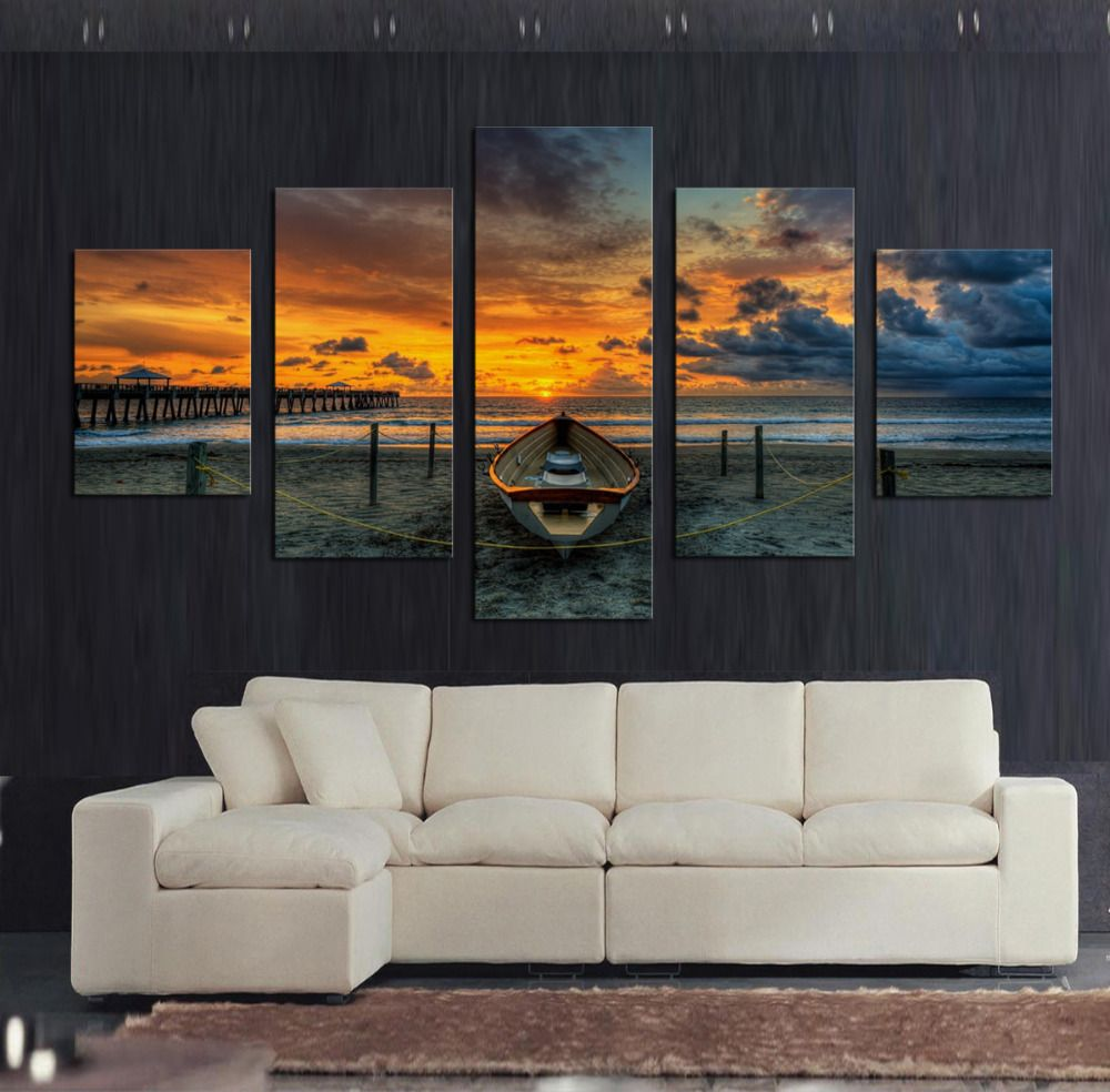 5 pcs modern printed large hd seaview with ship canvas print