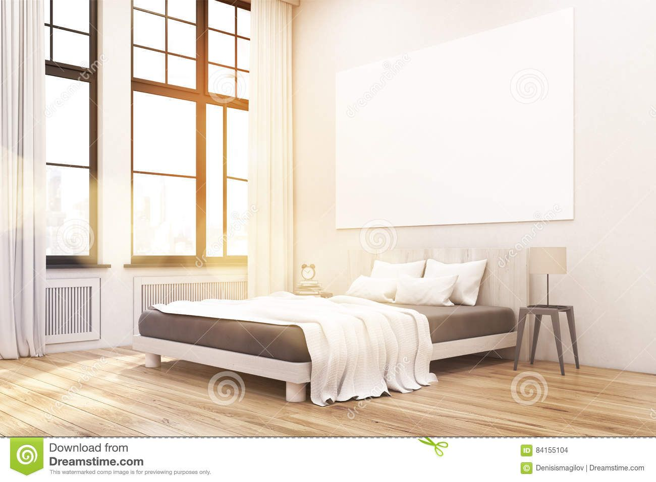 Corner Of A Master Bedroom With Bed