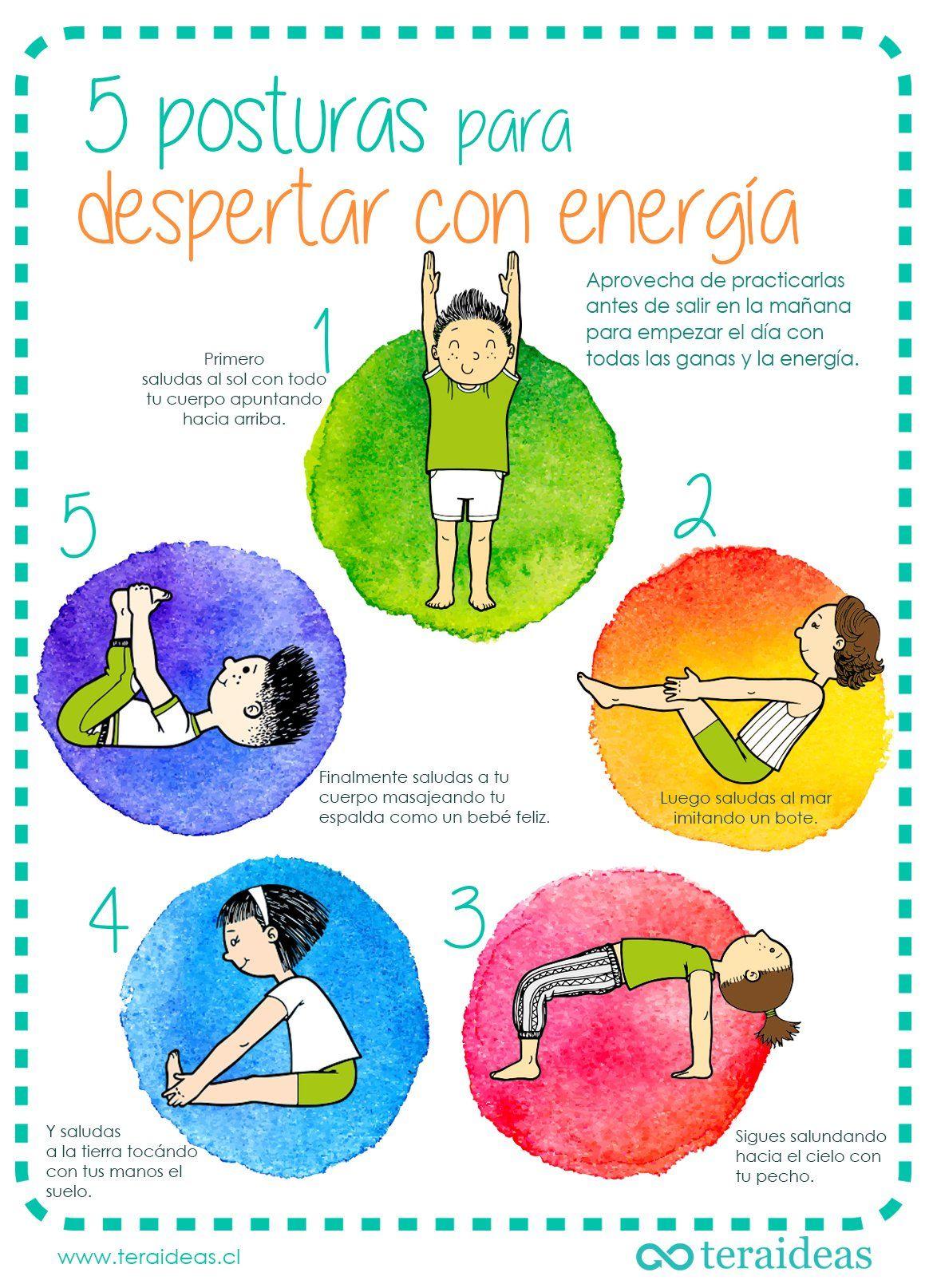 5 Asanas Para Empezar Con Energía Las Mañanas Teraideas Posturas De Yoga Para Niños Yoga Para Niños Chico Yoga