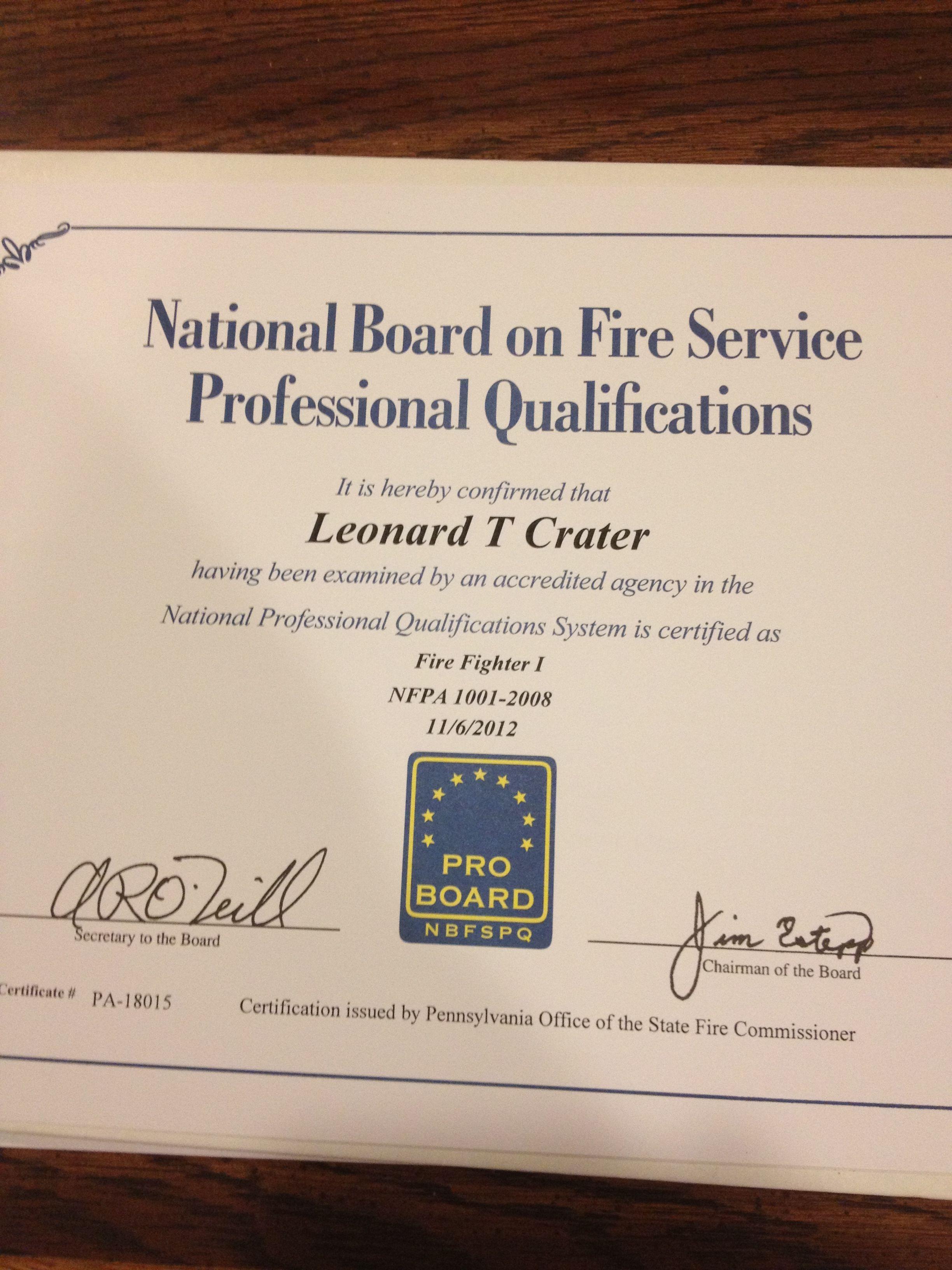 Firefighter 1 Proboard Certificate Firefighting Pinterest