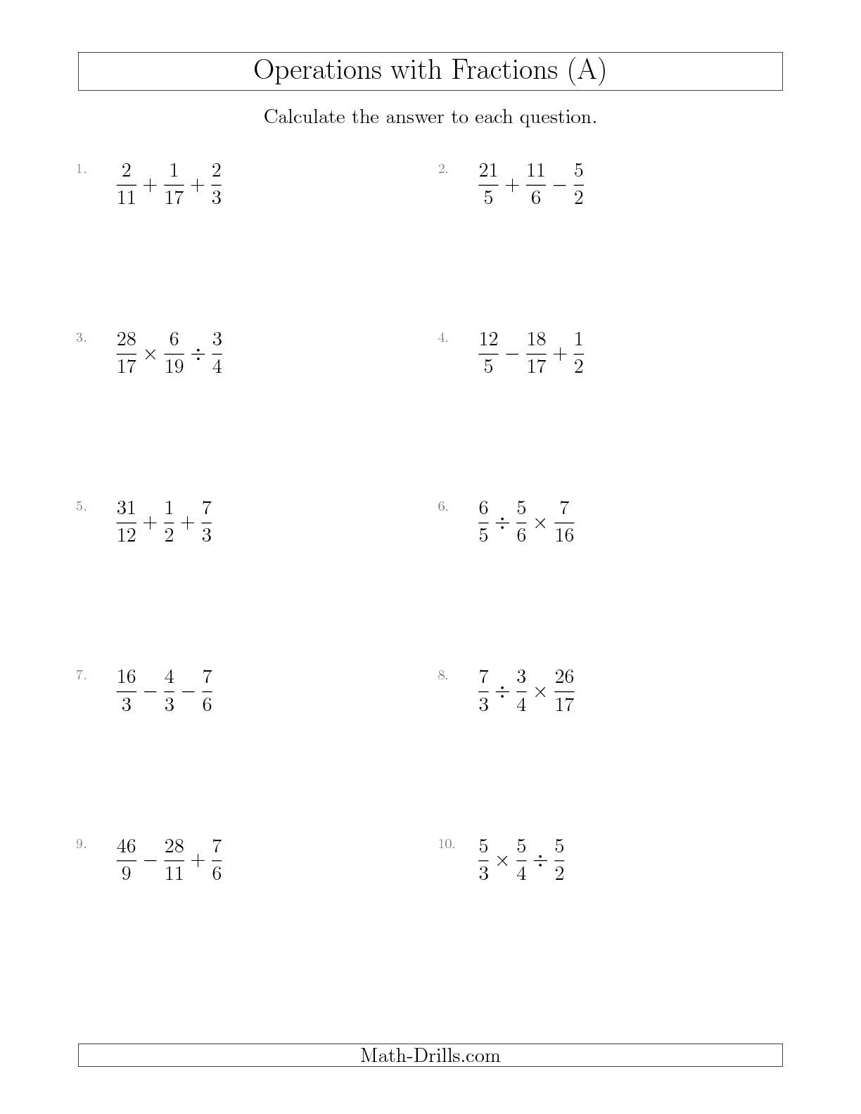 New Mixed Operations with Three Fractions Including Improper – Fractions Order of Operations Worksheet