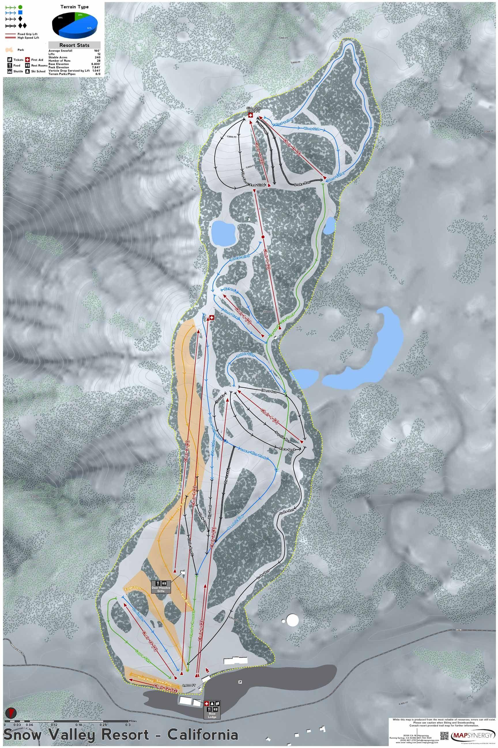 Worksheet. Snow Valley Resort ski map  California Ski Resort Maps