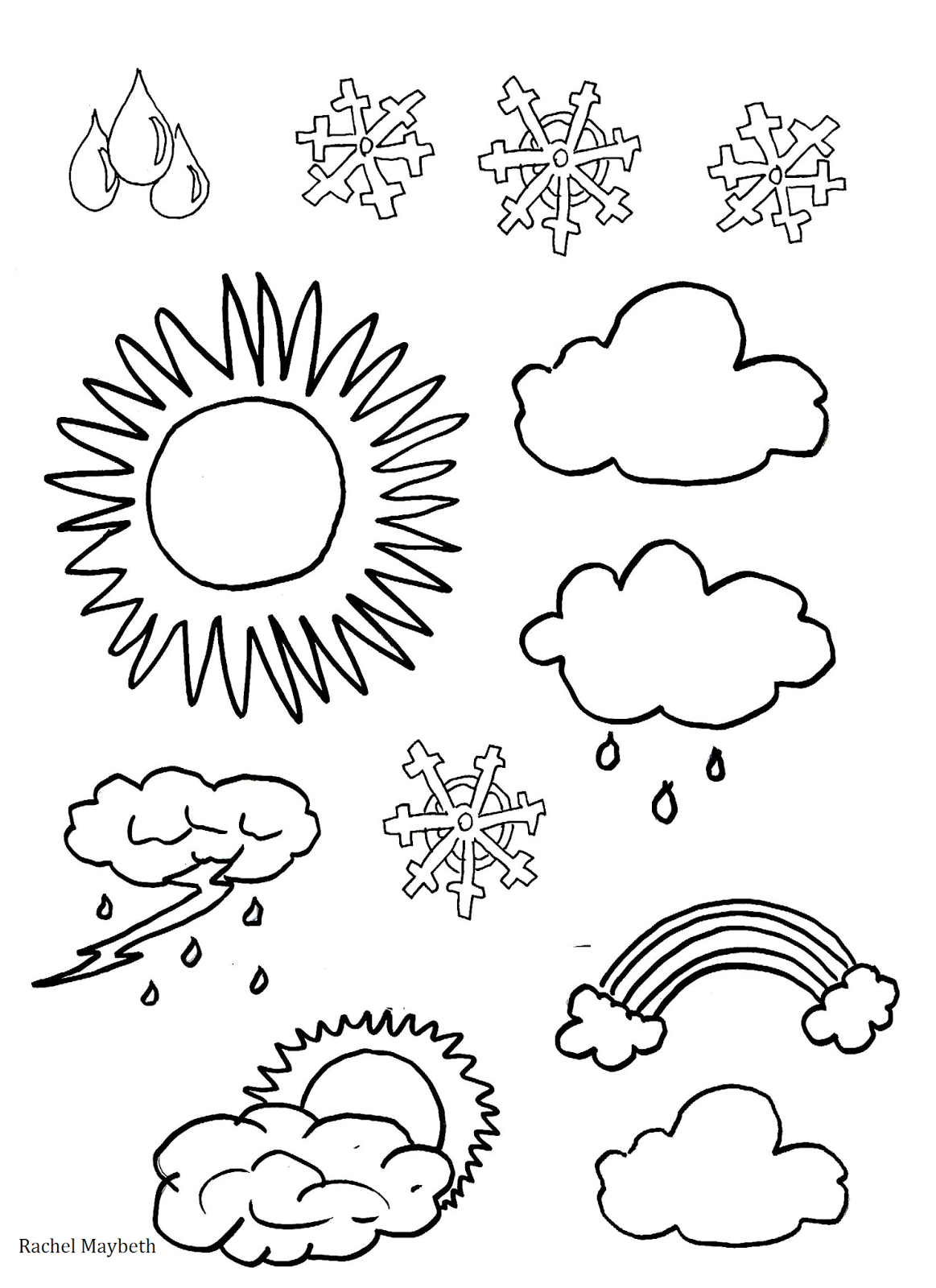 Free Weather Clipart Coloring Pages
