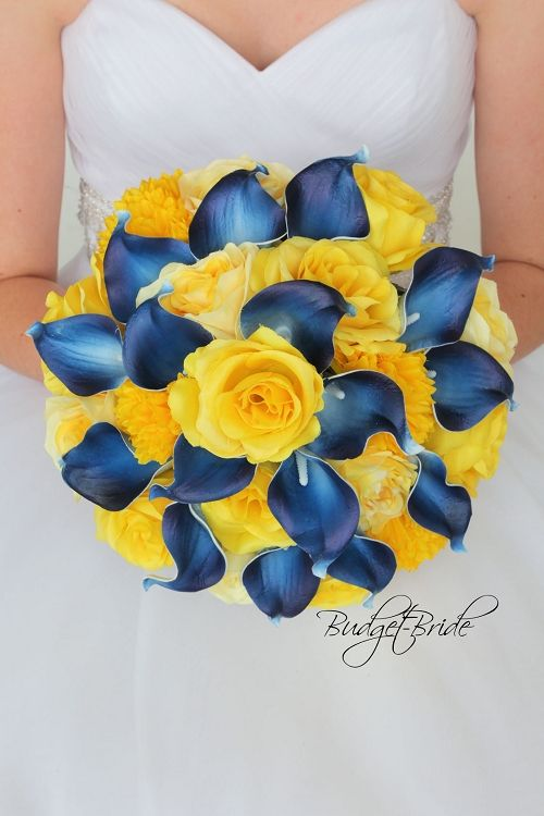 Davids bridal marine blue and yellow wedding bouquet with navy blue davids bridal marine blue and yellow wedding bouquet with navy blue calla lilies and yellow roses mightylinksfo