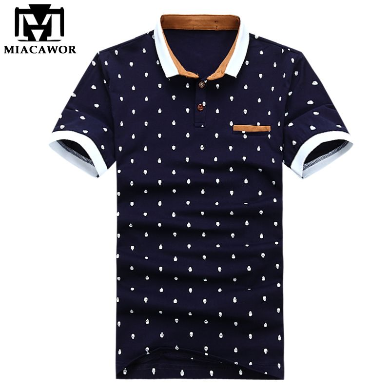 Fashion Polos New 2016 Brand Polo Shirt Men Cotton Fashion Skull Dots Printed Polo Shirts Dot Print Shirt Polo Shirt Brands