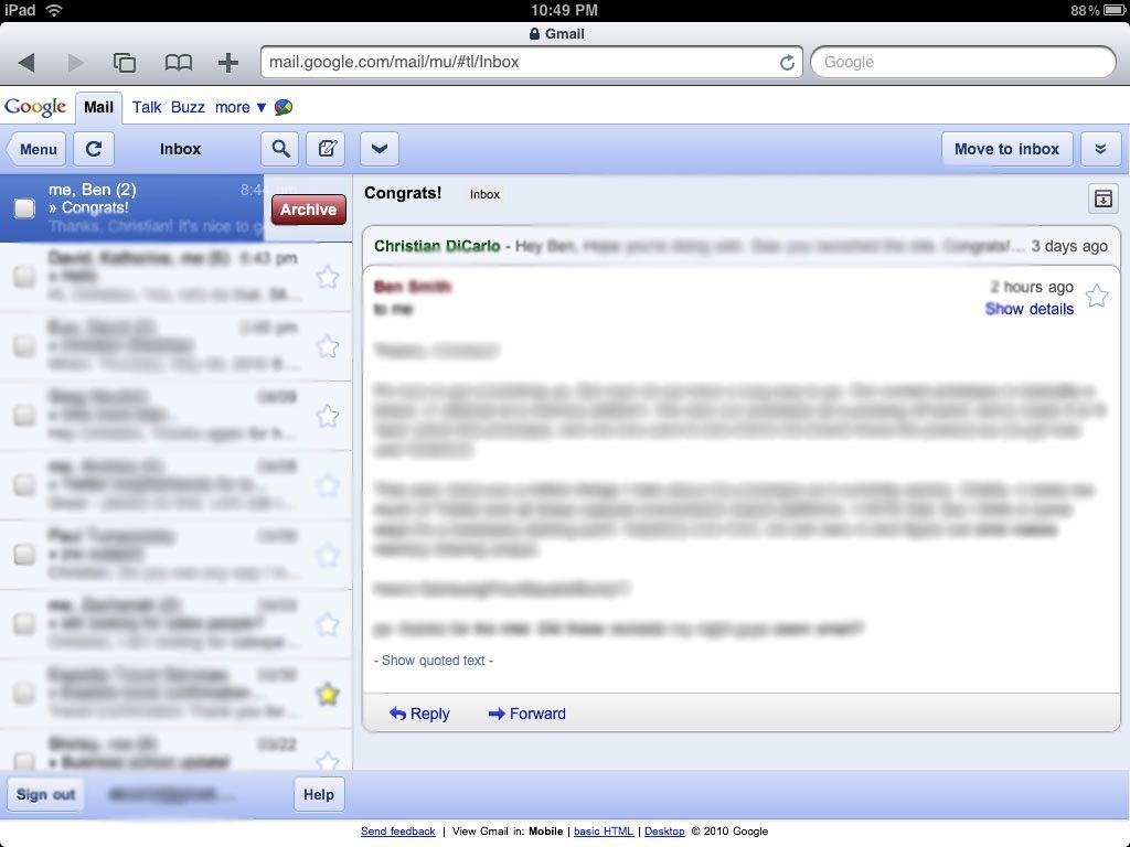 How can I use the normal (desktop) Gmail on an iPad? Web