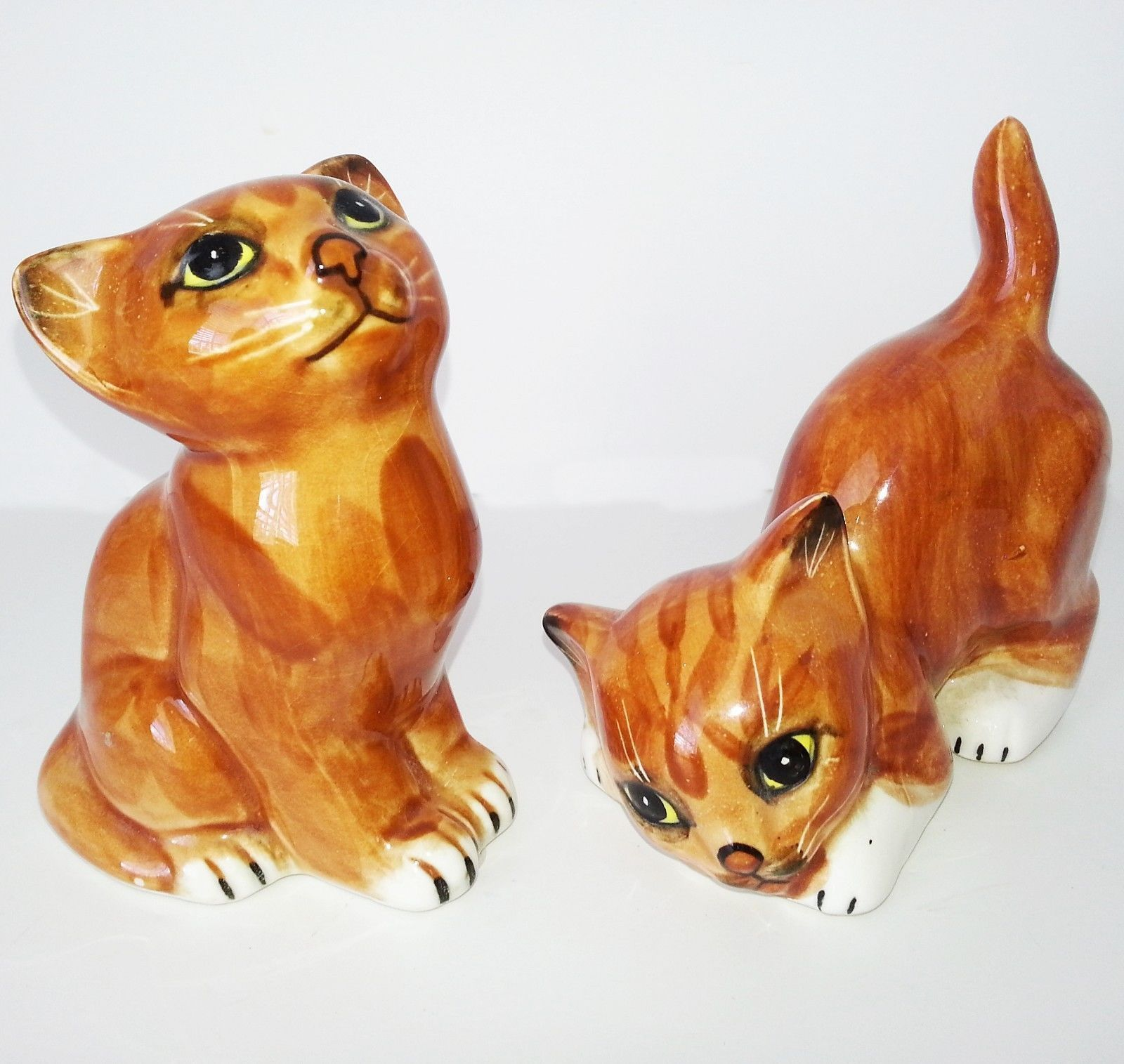 2 Mann 1978 Vintage Porcelain Ginger Cat Figure Figurine