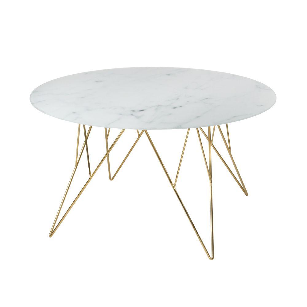 Mesa De Centro Prunnus 80 80 45 Textura Marmol Metal Dorado  # Muebles De Zoita
