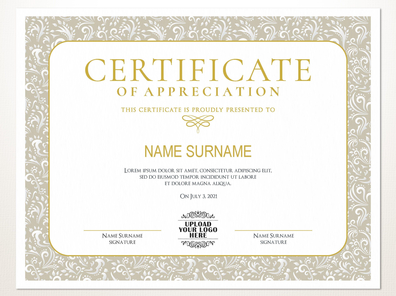 Elegant Blank Multipurpose Editable Certificate Template Editable