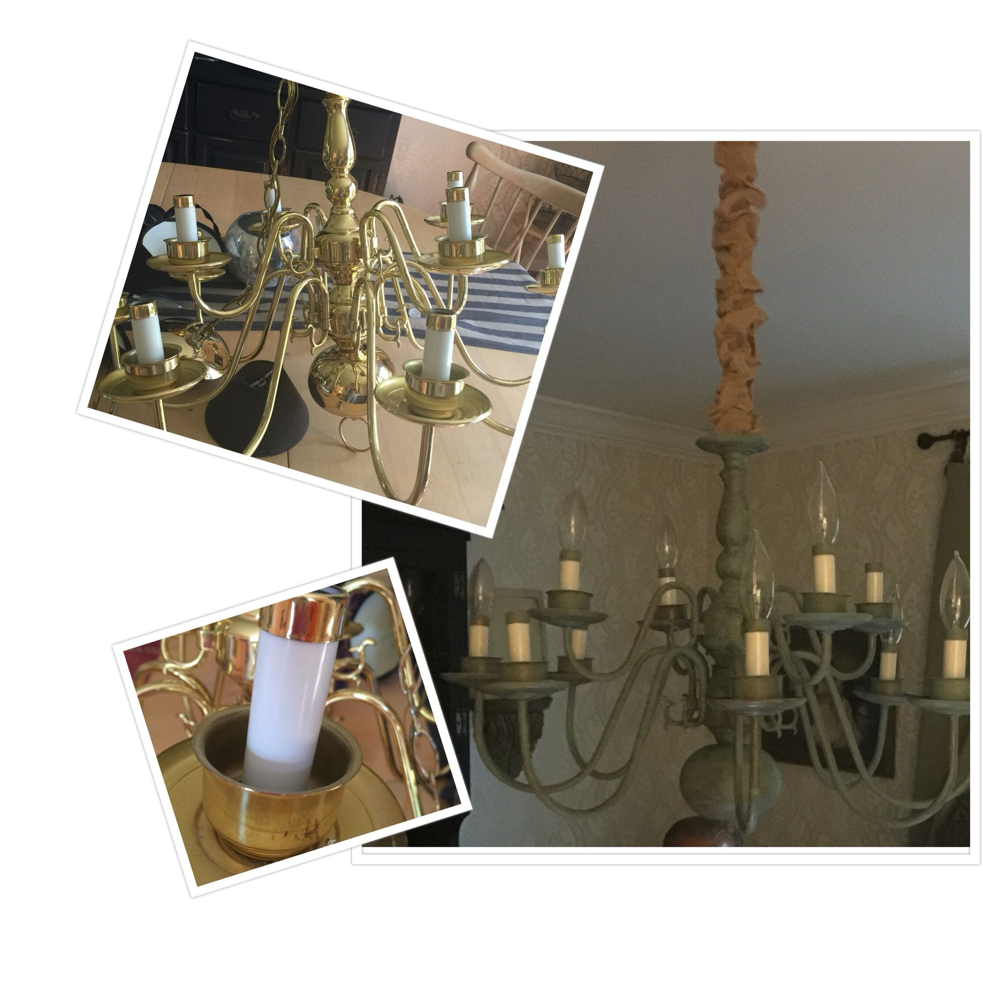 Taking an old brass chandelier and turning into a great piece!  Used the rustoleum patina kit.
