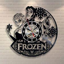 Frozen Elsa Disney Movie Home Decor Wall Art Cosplay Sven Vinyl Record Clock