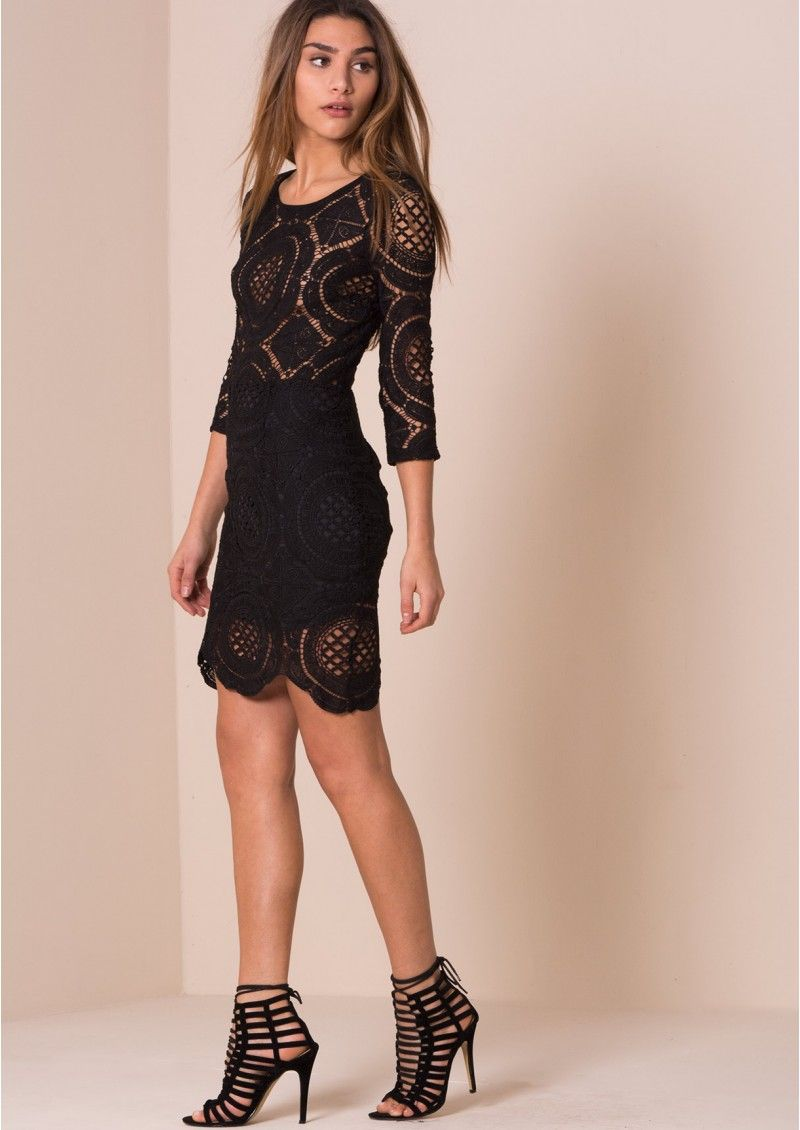 Chelian Black Crochet Bodycon Dress