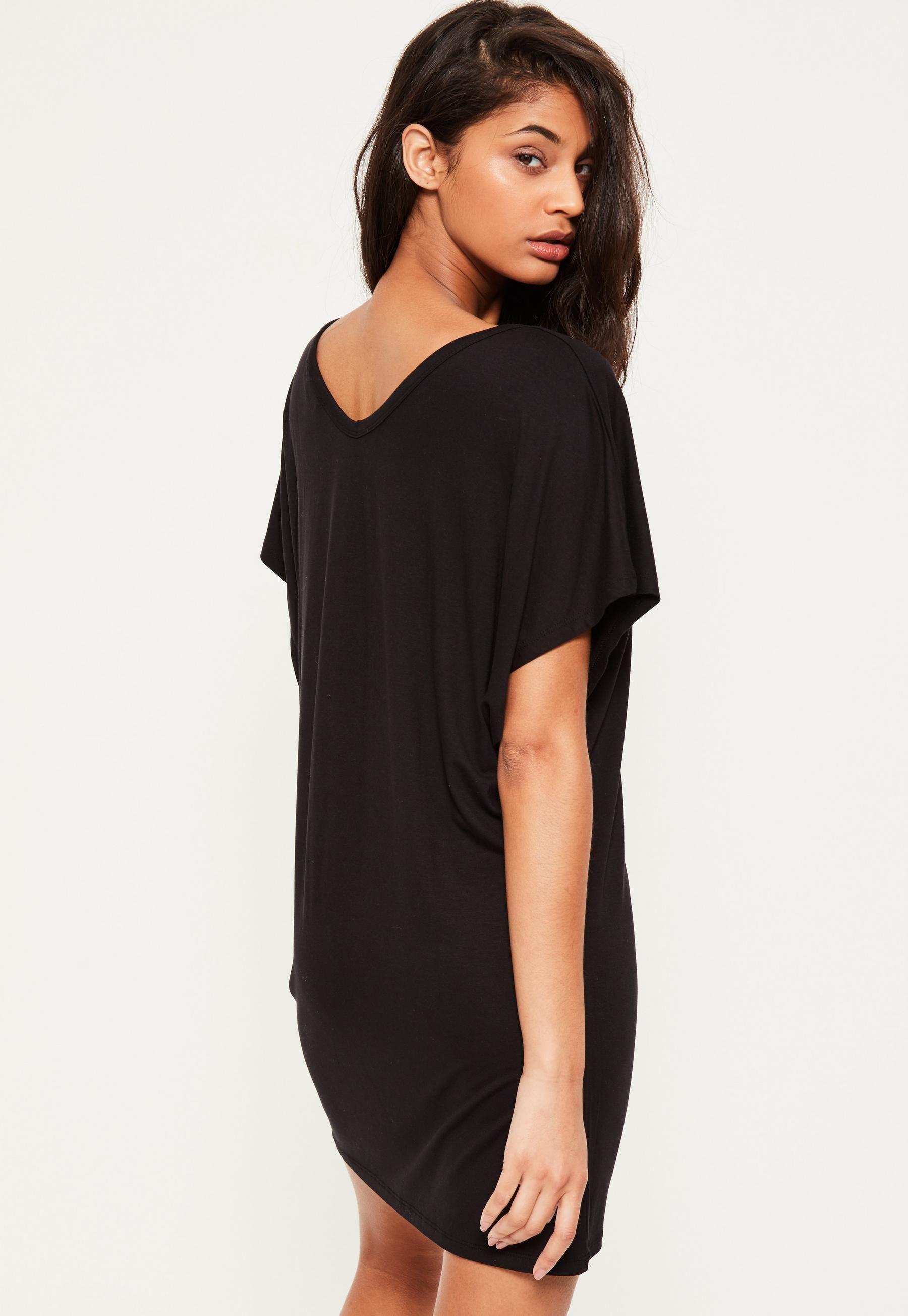 Black Oversized Wide V Neck T-Shirt Dress | Missguided | Shirt ...