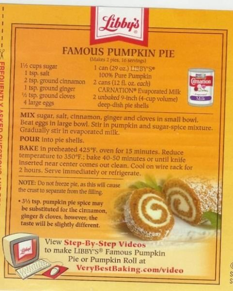 Libbys Pumpkin Pie Recipes