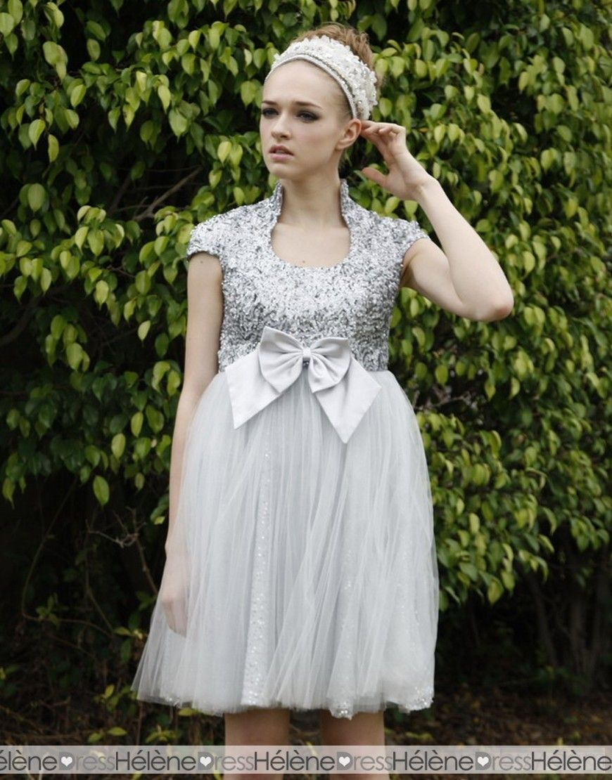 Cute shortminilength sequined short sleeves ball gown homecoming