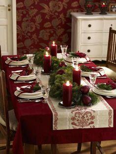 Centro de mesa de Navidad en rojo y blanco
