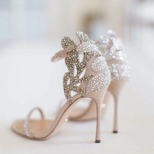 6addbc658f5 Champagne Wedding Shoes Rhinestone Stiletto Heels Bridal Sandals image 2