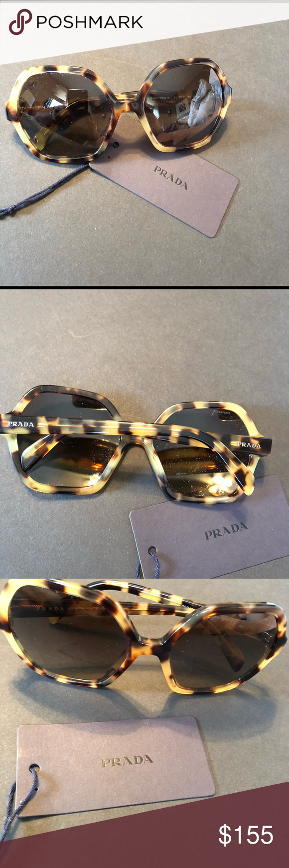 5add2c63f1ee8 PRADA AUTHENTIC SUNGLASSES Tortoise shell frames. Octagon shape ...