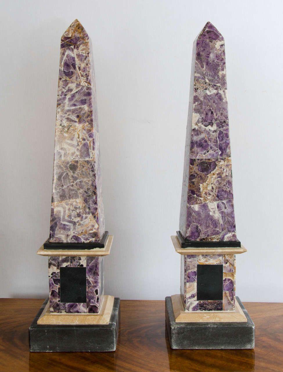 Pair Of Late 20th Century Veneered Amethyst Marble Obelisks Obelisk Late 20th Century Beige Marble