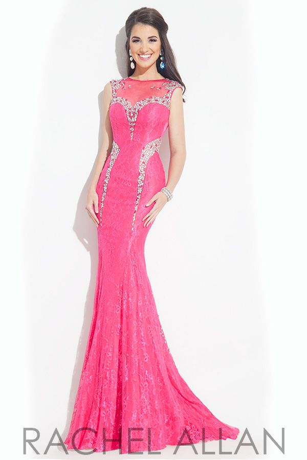 Jersey dress with lace applique overlay and beaded illusion detail ...