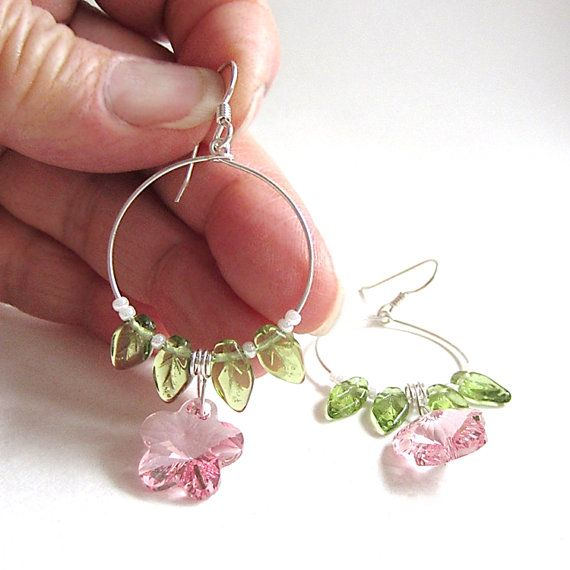 Pink Crystal Flower Hoop Earring Swarovski By Itssimplybrilliant Breath Of Spring In 30 00