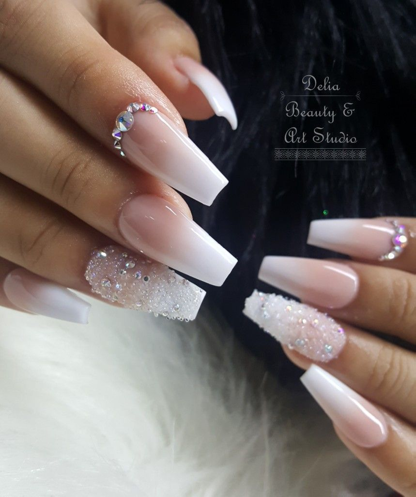 Theglitternail Get Inspired Matte French Ombre With Crystal Accent On Coffin Nails Coffin Nails Ombre Ombre Acrylic Nails Diamond Nails
