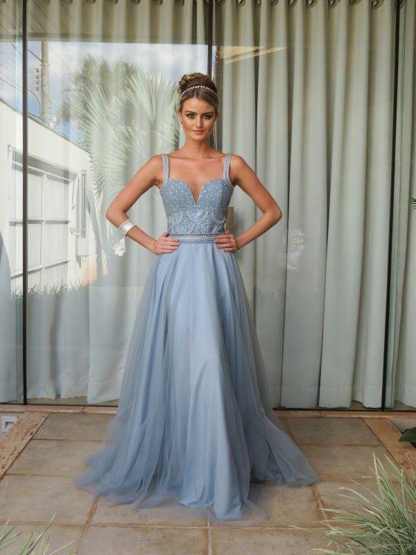 Vestido Festa Azul Serenity Casamento, Madrinha Luxo
