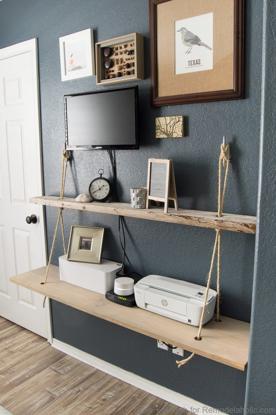Diy Reclaimed Wood Floating Rope Shelf Tutorial How To Make An Easy Hanging Rope Shelves For Decor And Electro Nautical Shelves Diy Wood Shelves Rope Shelves