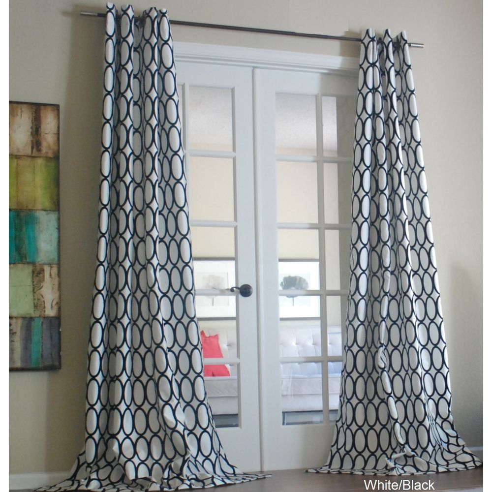Whiteblack pebbles faux silk grommet curtain panel overstock