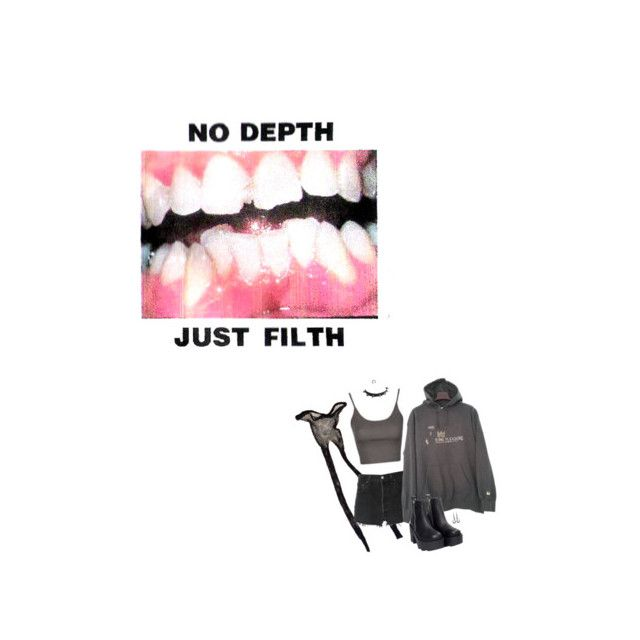 """Filth"" by irondeficient ❤ liked on Polyvore featuring Topshop, RE/DONE, UNIF and WithChic"