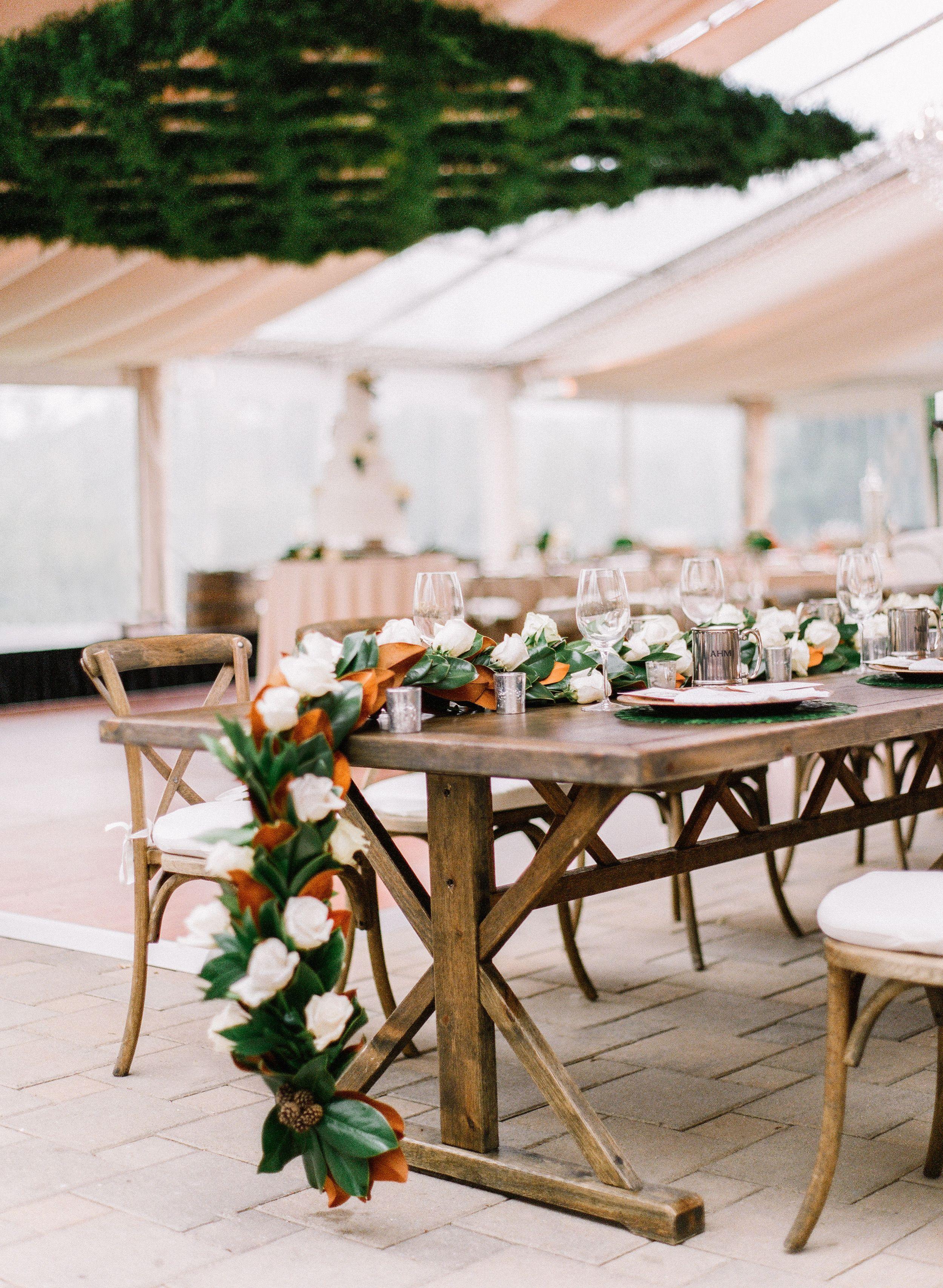 Greenacres Arts Center Wedding Wedding Reception Magnolia Leaves